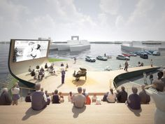 Haparandadam is the winning proposal by NL Architects for a cultural facility in Houthavens West meant to improve the attractiveness of the area to the public b Outdoor Stage, Outdoor Cinema, Outdoor Theater, Cinema Architecture, Water Architecture, Floating Architecture, Architecture Diagrams, Architecture Portfolio, Urban Planning