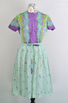 Cute 50s 60s Sheer Cotton Polyester Floral by 86CharlotteStreet, $149.99