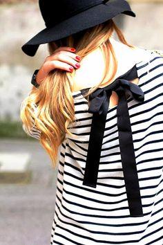 MODE THE WORLD: Cute Back Tie Stripes Blouse Encontrado en modetheworld.com