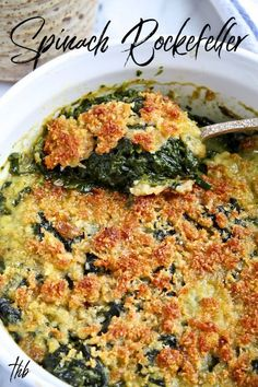 Spinach Rockefeller ~ spinach, bread crumbs, Parmesan, butter and seasonings, baked in a casserole until brown and crispy over creamy spinach. Popeye Spinach Recipe, Canned Spinach Recipes, Vegetable Recipes, Vegetarian Recipes, Cooking Recipes, Spinach Bread, Spinach Casserole, Casserole Dishes, Casserole Recipes