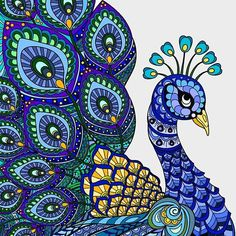 'bird painted, redbubble' by leoname Peacock Wall Art, Peacock Painting, Mural Painting, Peacock Drawing With Colour, Madhubani Paintings Peacock, Madhubani Art, Peacock Coloring Pages, Mandala Coloring, Colouring