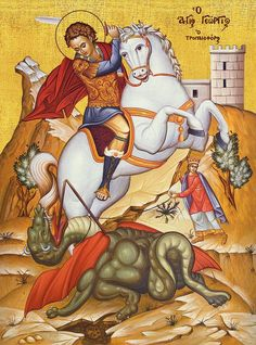 George & Dragon, Saint George And The Dragon, Byzantine Art, Byzantine Icons, Religious Icons, Religious Art, Hl Georg, Sign Of The Cross, Famous Photos