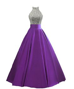 HEIMO Womens Sequined Keyhole Back Evening Party Gowns Beaded Formal Prom Dresses Long H123 12 Purple *** Check out the image by visiting the link-affiliate link.