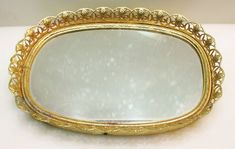 VTG ORMOLU Vanity Tray Gold Filigree Mirror Holywood Regency Trinket Holder Vanity Plate, Vanity Tray, Hollywood Regency, Vintage Hollywood, Perfume Tray, Mirror Tray, Art Of Glass, Victorian Gold, Gold Filigree