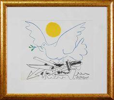 """J'ai repéré ce lot sur LotPrivé: Art Moderne - Pablo Picasso (d'après) (1881-1973) """"La Colombe De La Paix"""" Lithographie      Dimensions : 28x33          Signée et datée """"10 Mai 1962"""" dans la planche, Approuvé par la succession Pablo PICASSO,Format encadré 46x53 cm."""