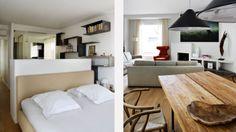 Flat renovation in Madrid: master bedroom with ensuite bathroom. Dining table designed by BATAVIA (www.batavia.net)