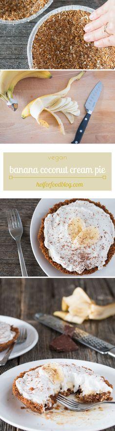 #vegan banana coconut cream pie with graham cracker crust. Easy to make! | RECIPE on hotforfoodblog.com