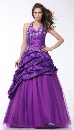Halter Style Floral Pattern Bodice Plus Size Purple Dress Pageant