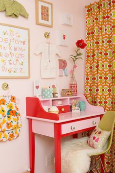 Cheerful pink and re