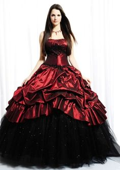 Ball Gown Strapless Floor-length in Taffeta Quinceanera Dress