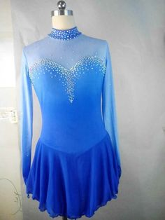 blue ice skating dress for competition women custom figure skating dresses yike #yike