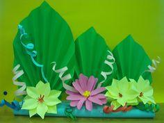 Kwiaty z papieru, ikebana, prace plastyczne, Dariusz Żołyński, flowers paper,   paper  flowers, orgiami, kirigami, wycinanki z papieru,  бумажные цветы 3d Paper Art, Diy Paper, Paper Crafts, Class Decoration, School Decorations, Origami, Spring Crafts For Kids, Art For Kids, Dinosaur Template