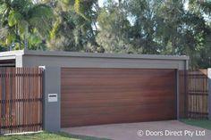 Timber Garage Door, Garage Door Panels, Garage Door Design, Modern Garage, Modern House Plans, Home Design Diy, House Design, Garage Doors Prices, Double Carport