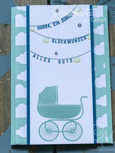 Glückwunschkarte zur Geburt eines Jungen gestaltet mit den Stempelsets Something for Baby und Aus freudigem Anlass von Stampin' Up! in den Farben Jeansblau und Minzmakrone. https://carosbastelbude.de/2017/07/06/geburt-junge/