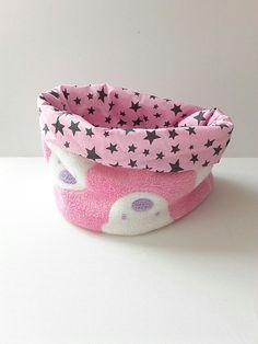 7e6b024d75a0 Vendu snood pour fille réversible, tour de cou doublé et chaud, écharpe en  tissu et polaire rose