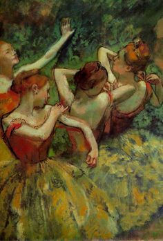 """""""Edgar Degas, Four Dancers"""". Degas's original sketch of his first dancer study is in Plymouth gallery at the minute in the Women's exhibition."""