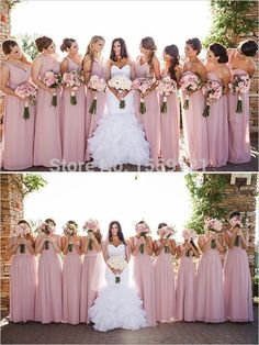 dusty rose and champagne bridesmaid dresses - Google Search