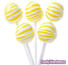Banana Sassy Suckers Yellow Striped Ball Lollipops: 100-Piece Bag