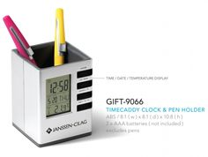 Timecaddy Clock & Pen Holder Abs 8.1 ( W ) X 8.1 ( D ) X 10.8 ( H ) 2 X Aaa Batteries ( Not Included ) Time / Date / Temperature