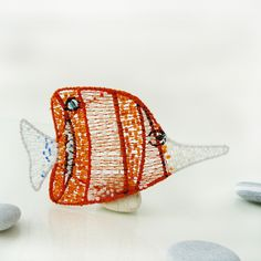 brooch Chelmon rostratus; steel, cotton, rocail; nycrame, by Nady.cz - Summer of brooches in Karlin 2015 (http://www.studioartesilver.cz/brozi-leto-v-karline-2015/)