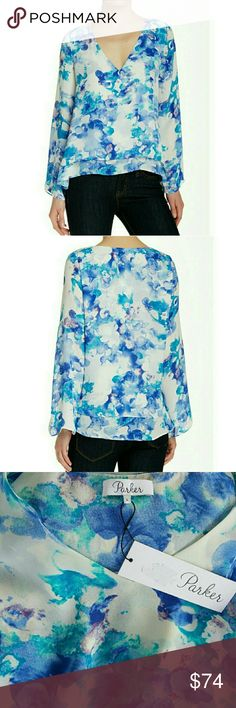 NWT, PARKER Blue Rita Blouse Gorgeous, NWT, Parker Blue Rita top!  Long bell sleeves frame the plunging neck line while the floral print boasts bright hues of blues. 100% Polyester. Dry Clean Only. Size L. Parker Tops