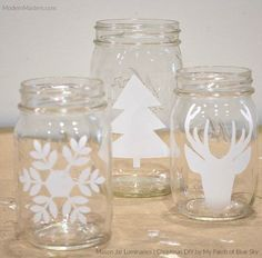 DIY Mason Jar Luminaries for the Christmas Holidays | How-to Tutorial by Debbie Hayes of My Patch of Blue Sky | Modern Masters Metallic Paint Collection