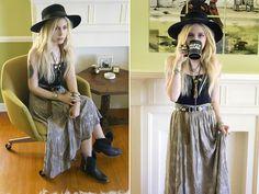 Gi Gi Vintage Skirt, Vintage Hat, Forever 21 Camisol, Vintage Belt, Steve Madden Boots
