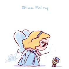 The Art of David Gilson — Disney's Chibies of Blue Fairy & Jiminy Cricket ,. Disney Pixar, Disney Animation, Disney Amor, Disney E Dreamworks, Disney Films, Disney Cartoons, Disney Magic, Disney Characters, Animation Movies
