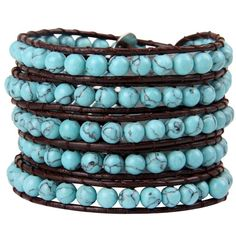 Babao Jewelry Pure Turquoise Natural Stone Beads Leather 5 Wraps Bracelet Christmas Valentine's Day Gift -- You can get additional details at http://www.amazon.com/gp/product/B00L138VCE/?tag=finejewelry4u.com-20&prw=060716064309