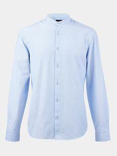 Long Sleeve Blue Grandad Collar Shirt