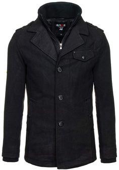 Czarny płaszcz męski zimowy Denley 822 | sklep internetowy z odzieżą i obuwiem www.denley.pl
