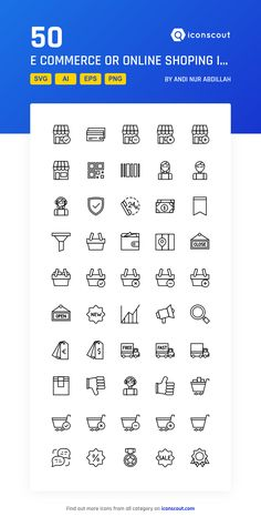 E Commerce Or Online Shoping  Icon Pack - 50 Line Icons