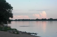 Looking SE from Centennial Park Beach at Sunset on the North side of Lake Okabena in Worthington, MN