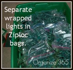 Christmas storage...put each strand of lights in their own ziplock.