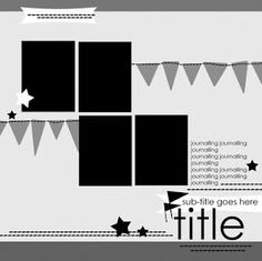 4 photo 12x12 scrapbook sketch with pennants -- summer carnival, birthday