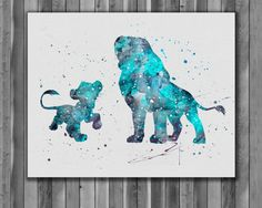 Simba and Mufasa DISNEY The Lion King  Art by digitalaquamarine
