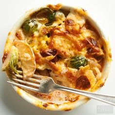 Cheesy Brussels Sprouts and Chorizo Bake - BHG - Your comfort food favorites are here -- cheese, cream, and potatoes. Plus, we've added spicy chorizo and tender sprouts.  /
