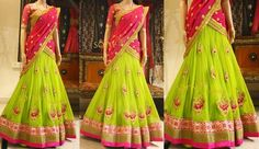 Exclusive Collection of Indian Celebrity Sarees and Designer Blouses Lehenga Designs, Half Saree Designs, Blouse Designs, Half Saree Lehenga, Lehnga Dress, Sari, Bridal Lehenga, Kids Lehenga, Kids Saree