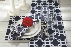Set a casually nautical table at home or onboard, with our collection of machine washable placemats and matching napkins and table runners. Placemat/Napkin Sets include: four placemats and four matching napkins. Nautical Table, Nautical Home, Coastal Colors, Beach House Decor, Home Decor, Napkins Set, Table Linens, Table Runners, House Design