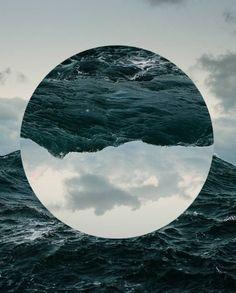 Circle graphic surrealism collage sea ocean water photography colours art water / sky un side down op hoop Design Graphique, Art Graphique, Photomontage, Graphisches Design, Nails Design, Flyer Design, Logo Design, Plakat Design, Poster Design