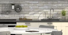 Decape Light Brick Wall And Floor Tiles - Tiles from Tile Mountain White Wall Tiles, Wall And Floor Tiles, Grey Tiles, Brick Tiles Kitchen, Light Brick, Splashback Tiles, Grey Brick, Aging Wood, English House