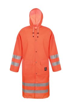 WATERPROOF COAT Model: 1102 The coat is fastened with snaps. The model has a hood, 2 welded pockets with protective flaps. Reflective tapes on the coat make workers more visible. The model is made on waterproof fabric Plavitex Fluo and it has been designed to be used at unfavorable weather conditions where visibility is limited. Thanks to double welded high frequency seams the product protects against rain and wind. The coat conforms to EN ISO 13688, EN 343 and EN ISO 20471 standards.