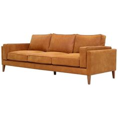 Danish Midcentury Style Three-Seat Leather Sofa Coyoacan For Sale Cognac Leather Sofa, Faux Leather Sofa, Leather Couches, Brown Leather Furniture, Mid Century Modern Sofa, Danish Style, Curved Sofa, Painting Leather, Contemporary Sofa