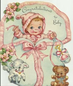 1940 - 50's New Baby greeting card Baby with toy lamb and bear, pale blue blanket with pale pink trim and bow