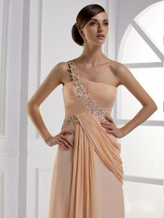 osell wholesale dropship Pleated Applique Brush Train One Shoulder Sleeveless Chiffon A Line Evening Prom Dress $86.66