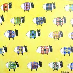 "Saatchi Art Artist brian nash; Painting, ""So many sheep. So many sweaters."""