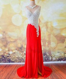 Simple A-LINE V NECK SEQUIN LONG RED PROM