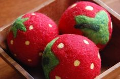 Needle felted Wool Strawberry Ball by greenbaboondesigns on Etsy, $10.00
