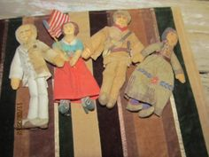 Vintage lot of 4 Hallmark 1979 Soft Cloth Dolls - Molly Pitcher Mark Twain Dave Crockett Indian Girl Dolls by EvenTheKitchenSinkOH on Etsy