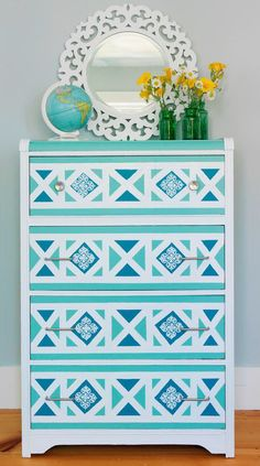 This secondhand dresser was given a fresh coat of white paint then a Moroccan-inspired design was painted on the drawer faces. Design by Joanne Palmisano
